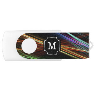 Monogrammed Multicolor Abstract lines Pattern Swivel USB 2.0 Flash Drive