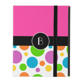 Monogrammed Multicolored Polka Dot Pattern iPad Covers