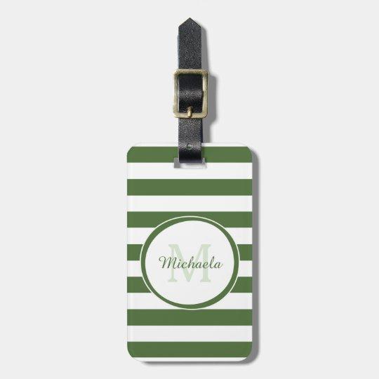 Monogrammed Name Chic Big Treetop Green Stripes Luggage