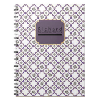 Monogrammed Name & Classic Moorish Geo Pattern #1 Spiral Notebook