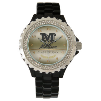Monogrammed Name Initial | Black Gold Graduation Watch
