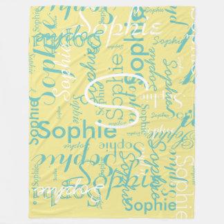 monogrammed name typography pattern fleece blanket