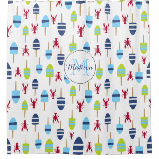 Monogrammed Nautical Lobster Buoy Beach House Shower Curtain
