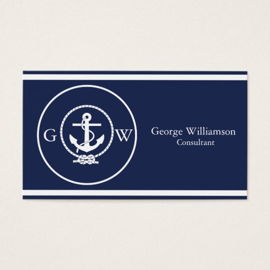 Monogrammed Nautical Navy Blue Anchor and Line Business