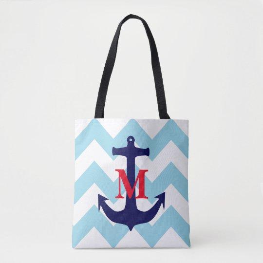 Monogrammed Nautical Tote