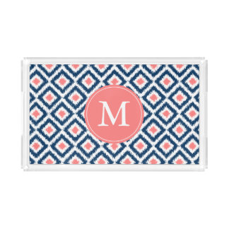 Monogrammed Navy and Coral Ikat Diamonds Pattern