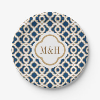 Monogrammed Navy and Gold Moroccan Wedding 7 Inch Paper Plate