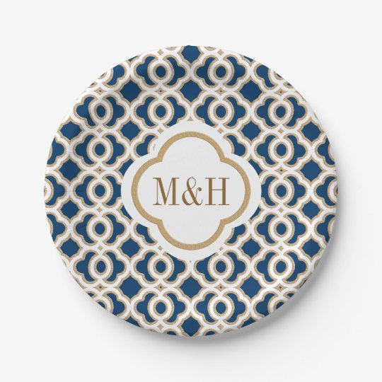 Monogrammed Navy and Gold Moroccan Wedding Paper Plate