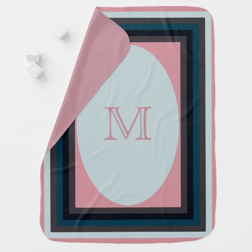 Monogrammed navy and rose Baby Blanket