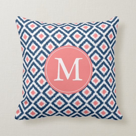 Monogrammed Navy Blue Coral Diamonds Ikat Pattern Cushion