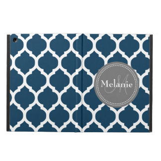 Monogrammed Navy Blue  & Grey Quatrefoil Case For iPad Air