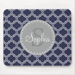 Monogrammed Navy Blue Lattice Pattern Mouse Pad