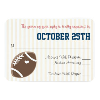 MONOGRAMMED NAVY RSVP FOOTBALL WEDDING RSVP CARD