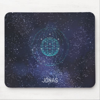 Monogrammed Night Sky Abstract Globe Mouse Mat