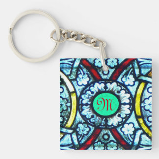 Monogrammed Notre Dame Stained Glass Single-Sided Square Acrylic Keychain