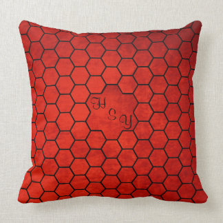 Monogrammed Old Red Velvet Effect, Hexagon Patches Cushion