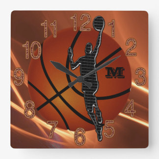 Monogrammed or Number Cool Boys Basketball Clocks