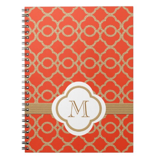 Monogrammed Orange and Gold Moroccan Notebook