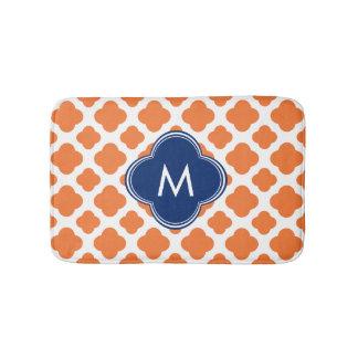 Monogrammed Orange and Royal Blue Quatrefoil Bath Mat