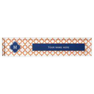 Monogrammed Orange and Royal Blue Quatrefoil Nameplate