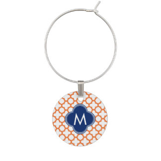 Monogrammed Orange  and Royal Blue Quatrefoil Wine Charm