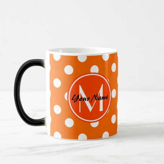 Monogrammed Orange and White Polka Dots Pattern Magic Mug