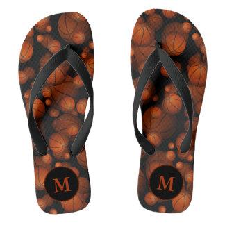 monogrammed orange black basketballs pattern flip flops