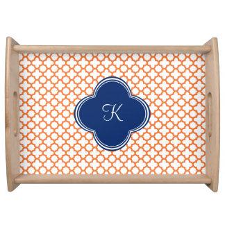 Monogrammed Orange , Royal Blue Quatrefoil Serving Tray