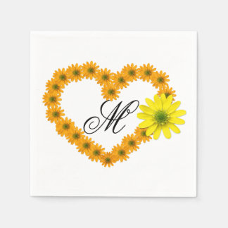 Monogrammed Orange & Yellow Daisy Heart Napkin Disposable Napkins