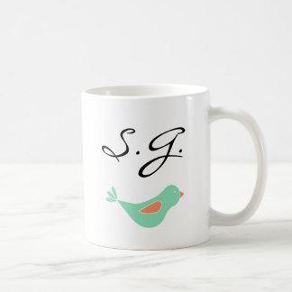 Monogrammed Pastel Green Bird Basic White Mug