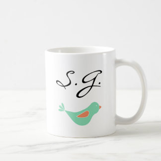 Monogrammed Pastel Green Bird Coffee Mug