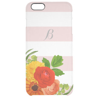 Monogrammed Pastel Stripes And Colorful Flowers Clear iPhone 6 Plus Case