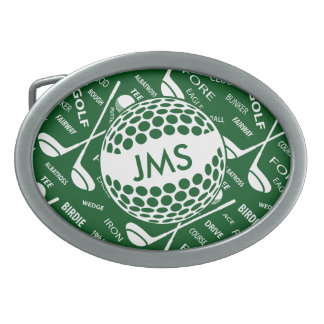Monogrammed Pattern for the Golfer Belt Buckles