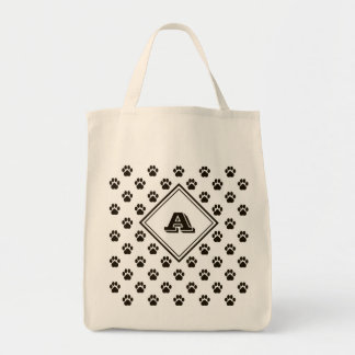 Monogrammed Paw Print Grocery Tote Grocery Tote Bag