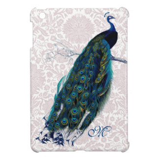 Monogrammed Peacock on Pink Damask iPad Mini Cover