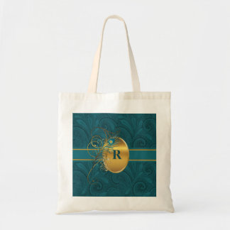 Monogrammed Peacock Teal and Gold Budget Tote Bag