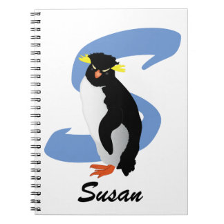 Monogrammed Penguin w/ Name & Initial Spiral Notebook