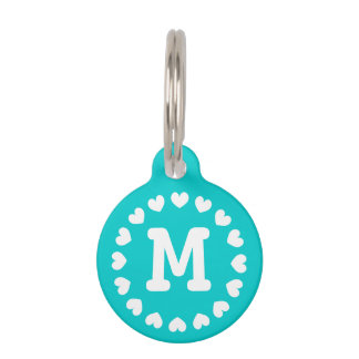 Monogrammed pet tag with hearts for dogs and cats