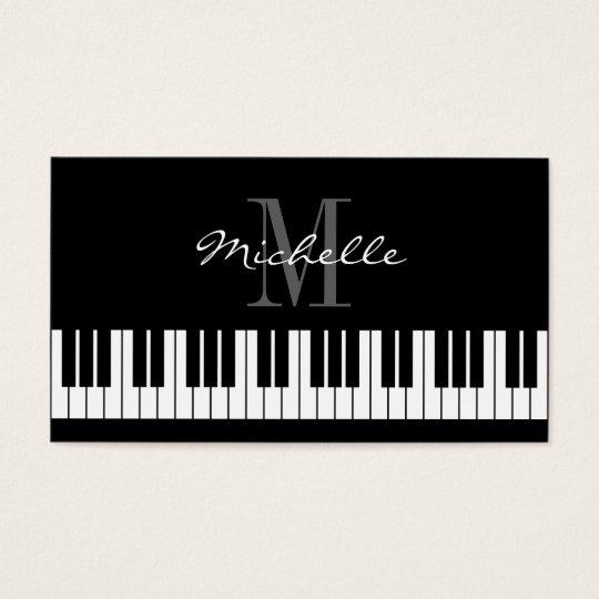 Monogrammed piano teacher business card template