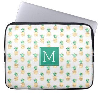 Monogrammed Pineapples Pattern Laptop Sleeve