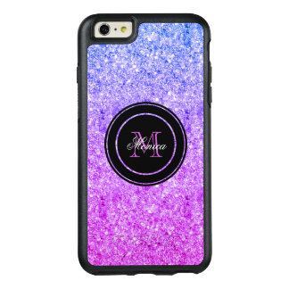Monogrammed Pink And Blue Gradient Glitter OtterBox iPhone 6/6s Plus Case