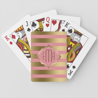 Monogrammed Pink And Gold Geometric Stripes Playing Cards