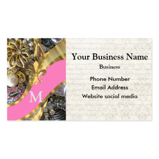 Monogrammed pink and gold jewelry pattern pack of standard business cards