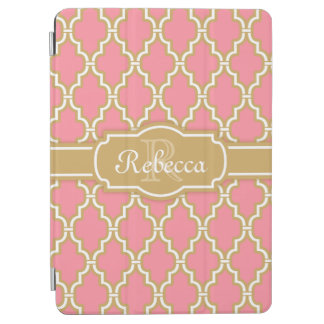 Monogrammed Pink and Gold Lattice Pattern iPad Air Cover