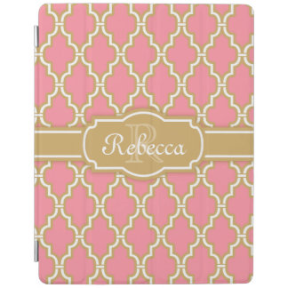 Monogrammed Pink and Gold Lattice Pattern iPad Cover