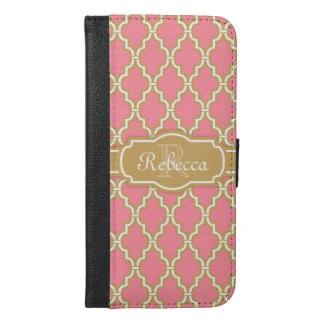 Monogrammed Pink and Gold Lattice Pattern iPhone 6/6s Plus Wallet Case
