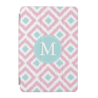 Monogrammed Pink and Mint Ikat Pattern iPad Mini Cover