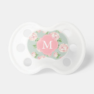 Monogrammed Pink and Mint Vintage Roses Pattern Dummy