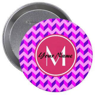 Monogrammed Pink and Purple Chevron Patchwork 10 Cm Round Badge