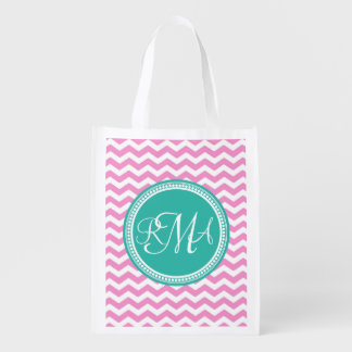 Monogrammed Pink and Teal Chevron Custom Reusable Grocery Bag
